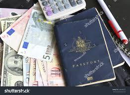 Trip Planner Calculator Trip Planner Cash Passports Calculator Pen Stock Photo Edit