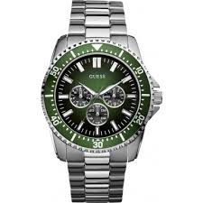 guess mens watches uk watches store part 2 guess focus men s quartz watch green dial analogue display and silver stainless steel strap w10245g3