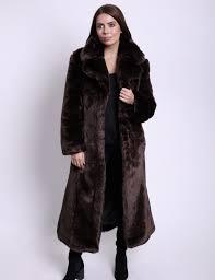 ardelle long chocolate faux fur coat