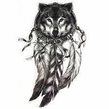 Tomtosh 1 шт черный волк мечта перо Flowe татуировки наклейки