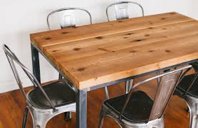 Wooden and metal chairs Antique Metal Trespasaloncom Wood And Metal Dining Table Combined Industrial Style