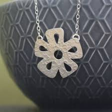 sterling silver watercolour small daisy necklace