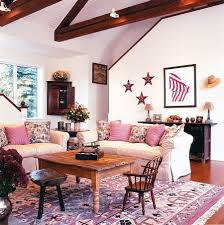 Living Rooms:Pink Farmhouse Living Room Style With Pink Sofa And Rustic  Coffee Table On