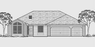 house front color elevation view for 10050 one level house plans house plans with 3