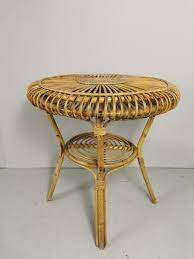 mid century bamboo coffee table for