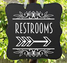 restroom directional sign. Restroom Sign, Decor, Bathroom Directional Wedding Restrooms, Restaurant Salon Event Wood Sign