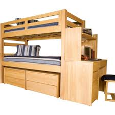 university loft graduate series twin xl bunk bed natural finish