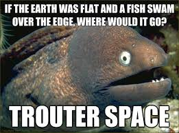 If the Earth was flat and a fish swam over the edge, where would ... via Relatably.com