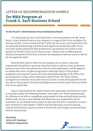 Intro To Recommendation Letter Letter Of Recommendation For Mba Program Sample