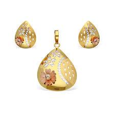 italian gold earrings and pendant set