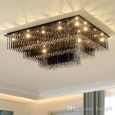 dimmable modern chandeliers high end k9 crystal led ceiling rectangle black clear chandelier lights hotel villa crystal lighting forlight