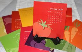 Sale 25 Off 2019 Desk Calendar With Wooden Easel Stand Vegetable Calendar Full Color