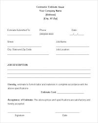 sample estimate templates free word excel doents sample work estimate template for contractor details file format
