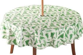 details about fern garden zippered umbrella tablecloth table cover vinyl 70 in round patio a