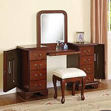 Wonderful Acme Furniture Cherry Louis Philipe 3 PC Make Up Table Bench Mirror 8  Drawers Large Vanity