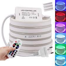 RGB Neon Dải Ánh Sáng EU 220V 240V Chống Nước Ruy Băng Băng Dẻo LED Đèn Ngủ  Trắng/Trắng Ấm 2835 5050 Dây Đèn LED|Dải Đèn LED
