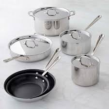 tri ply cookware. Interesting Cookware AllClad D3 TriPly StainlessSteel Nonstick 10Piece Cookware Set Inside Tri Ply P