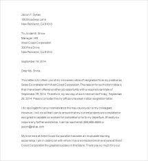 One Week Notice Resignation Letter 2 Weeks Job Notice Resumed Letter Sample Resignation With