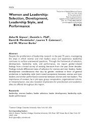 College Essays On Leadership Pdf Women And Leadership Selection Development