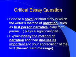 "all quiet on the western front "" critical essay on narration  2 critical essay question choose a novel or short story in which the writer s method of narration such as first person narrative diary form journal"