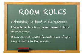bedroom rules. the board with room rules bedroom e