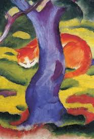 tree painting cat behind a tree by franz marc