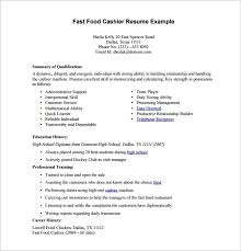 Fast Food Cashier Resume Free Resume Templates 2018