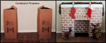 cardboard fireplace rh thecrafterlife com how to make a fake fireplace out of cardboard boxes