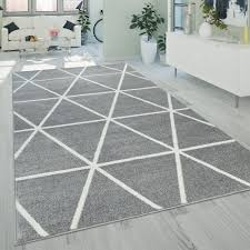 Kurzflor Teppich Rauten Muster Gelb