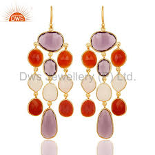14k gold plated 925 sterling silver multi color stone chandelier earrings