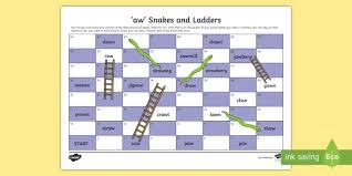 Phonics worksheets and online activities. Aw Sound Snakes And Ladders Game Teacher Made