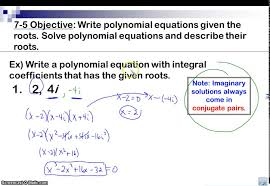 writing polynomial equations given roots
