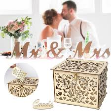 details about wooden wedding card box wedding diy gift advice box with lock rustic party d5u2