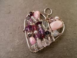 hand formed silver wire heart pendant wire wrapped with swarovski crystals rose purple