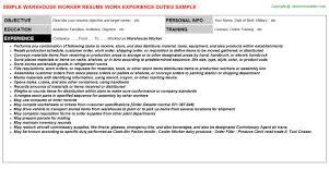 Resume Samples For Warehouse Jobs Costumepartyrun