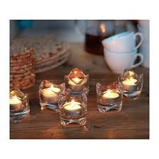 ikea vasnas lot of 6 tealight candle holders clear glass