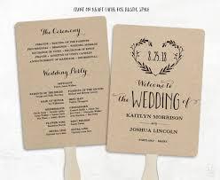 printable wedding program template wedding fan programs diy wedding fans 3 colors included editable text 5x7 heart wreath
