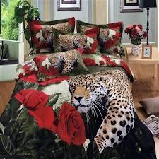 leopardo rosas rojas 3d bedding set completo queen size 4 unids in animal print comforter sets king plan