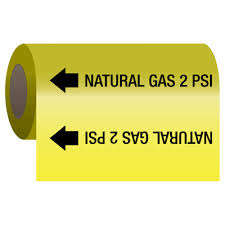 Medical Gas Self Adhesive Pipe Markers On A Roll Natural Gas 2 Psi