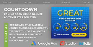 countdown templates the countdown coming soon html5 banner ad templates gwd by y n