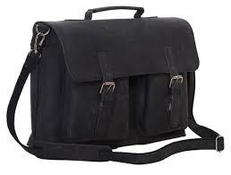 komalc 15 inch black retro buffalo hunter leather laptop messenger bag of new