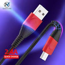 2.4A Micro usb Cable <b>3m 2m 1m</b> Nylon <b>Braided</b> Data Sync fast ...