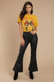 flarey tale black faux leather pants