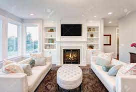 Living Room With A Fireplace Beautiful Living Room With Fireplace In New Luxury Home Stock