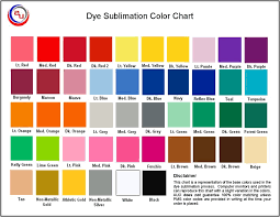 Dye Sublimation Color Chart Sublimated Apparel Color Chart By Auo Blue Med Colors