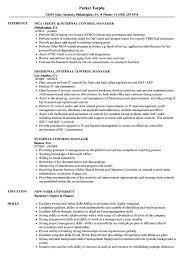 Internal Control Manager Resume Samples Velvet Jobs