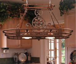 ... Kitchen Pot Rack With Lights Come With Copper Hanging Pot Racks  SMLFIMAGE SOURCE Design Ideas