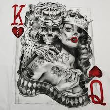 King And Queen Of Hearts Designs Mens King Queen Of Hearts T Shirt S 3xl Tattoo Sugar Skull Poker Playing Card Shirt Tees T Shirt On Shirt From Threecup 16 24 Dhgate Com