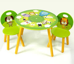 square espresso stained wooden table and colourfull painted wooden chairs for toddler