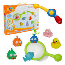Bath Toy Fishing Game Bathtub Toys with Floating Fish and Fishing ...